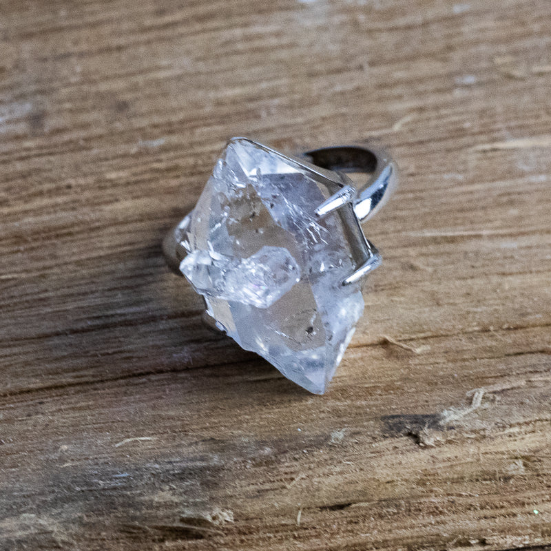 Bespoke Sterling Sliver Herkimer Diamond Ring HDR5