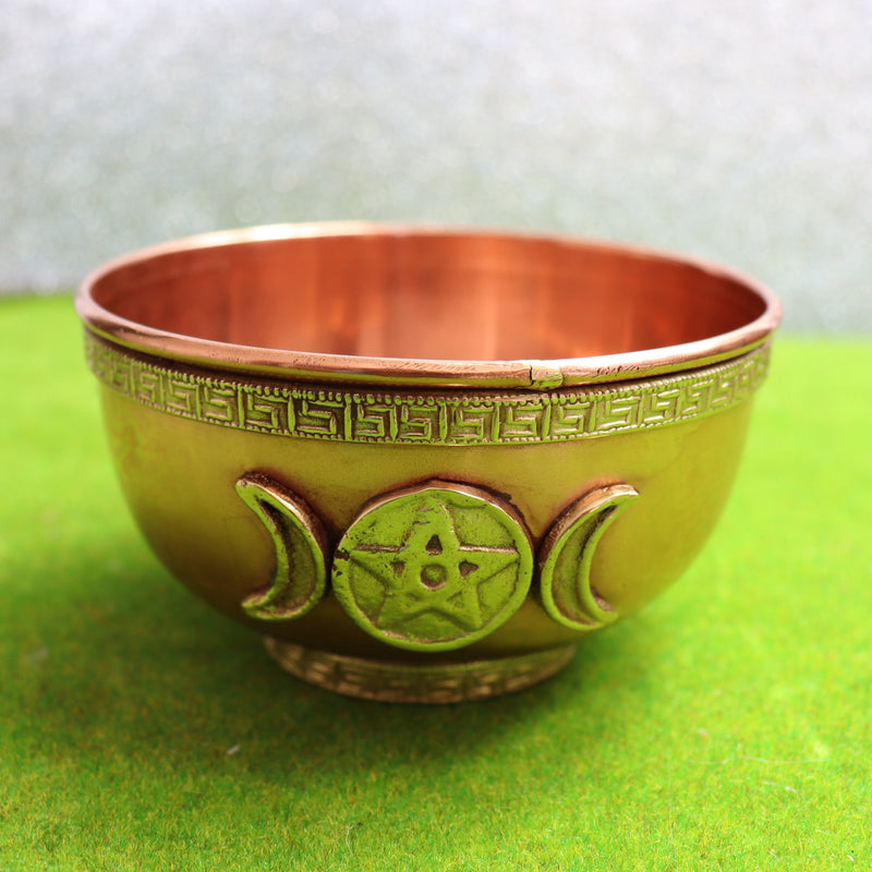 10cm Triple Moon Copper Offering Bowl