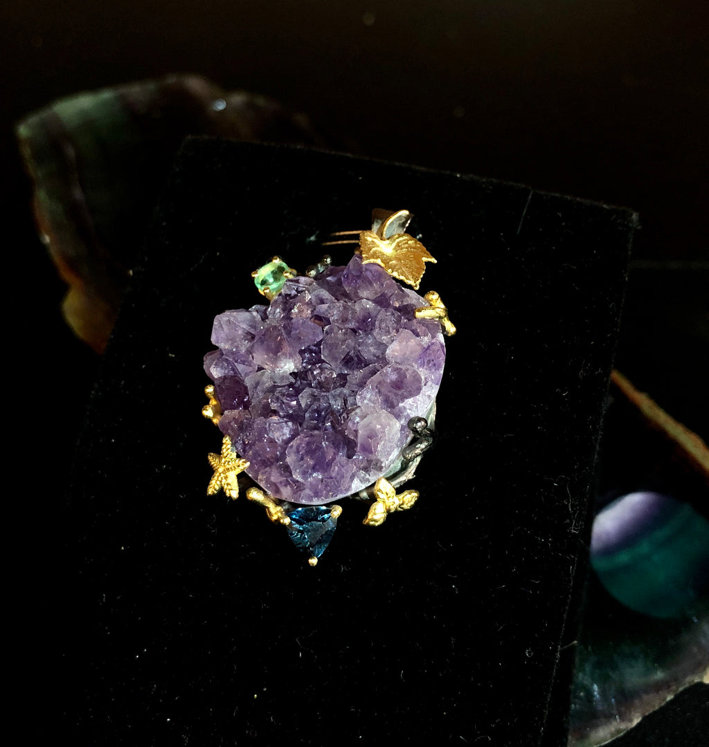 Natural Amethyst cluster pendant with emerald and topaz