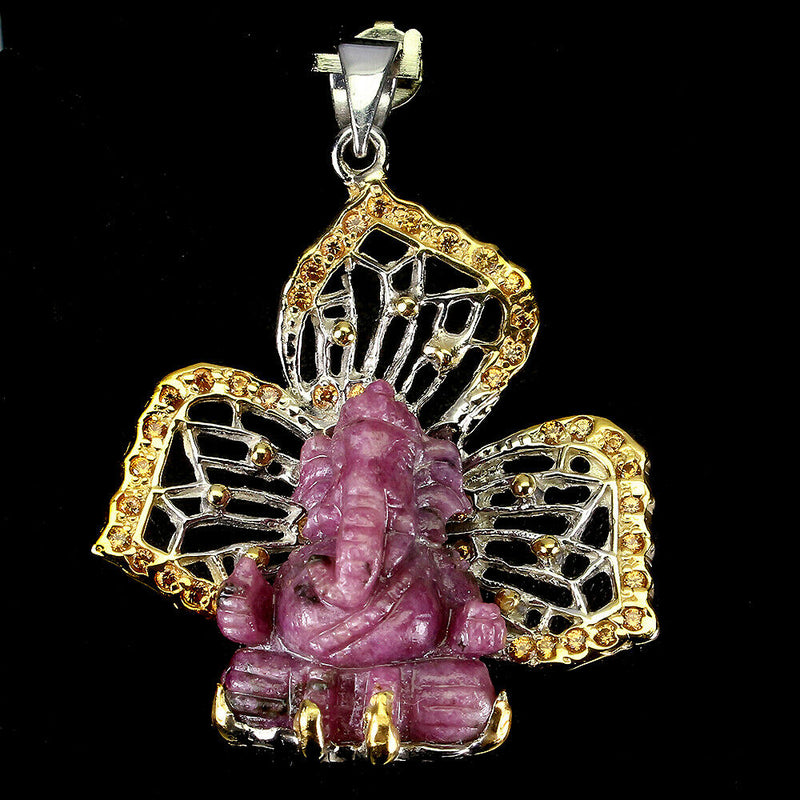 Ganesha Carving Ruby Zoisite 22x18mm 925 Sterling Silver Pendant