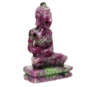 Buddha Carving, Natural Red Ruby Zoisite