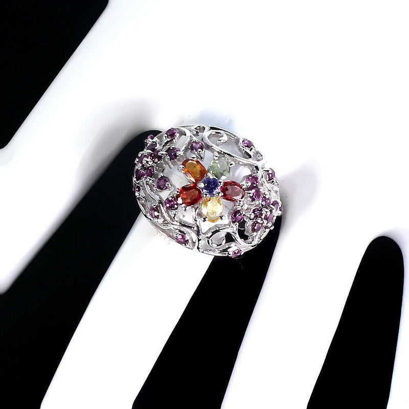 Oval Sapphire 4x3mm Rhodolite Garnet, Tanzanite 925 Sterling Silver Ring Size 9