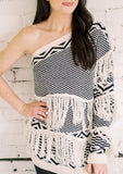 YOUR CHOICE FRINGE ONE SHOULDER SWEATER