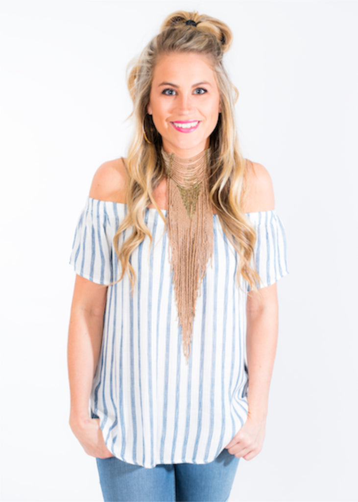 SEA STRIPES OFF THE SHOULDER TOP