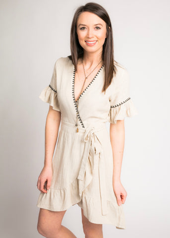 RAISED RIGHT LINEN WRAP DRESS