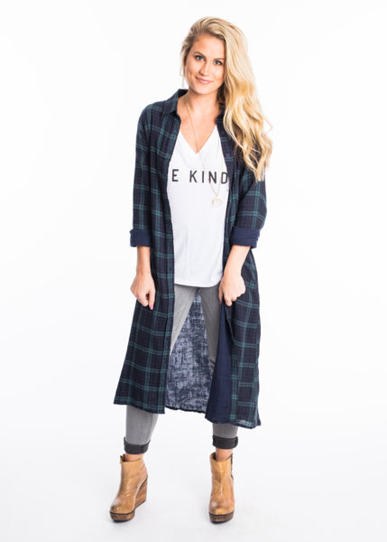 PAY IT PLAID DUSTER CARDIGAN