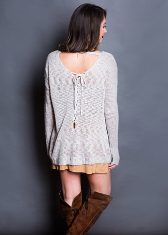 DREAMY LACE BACK SWEATER