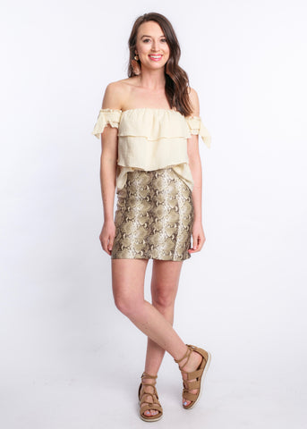 PLAY AROUND SNAKE PRINT SKIRT