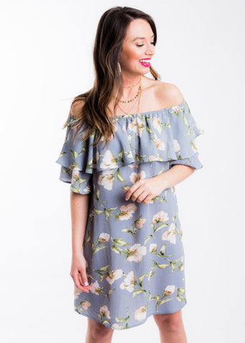 SEEDS OF SUNSHINE OFF THE SHOULDER DRESS