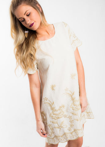 TIME FOR IT EMBROIDERED DRESS
