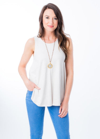 IVORY SUEDE TANK TOP