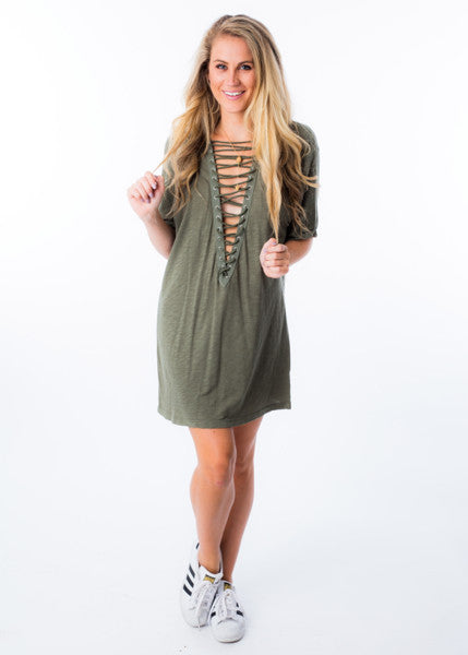 ON THE EDGE LACE UP DRESS