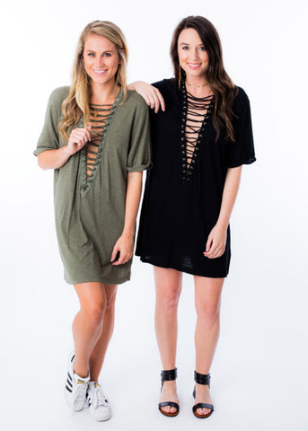 ON THE EDGE LACE-UP DRESS