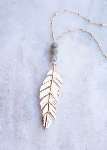 FLOATING FEATHER PENDANT NECKLACE