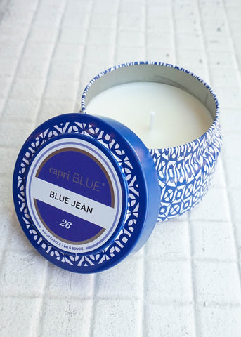 PRINTED TRAVEL TIN CANDLE IN BLUE JEAN BY CAPRI BLUE