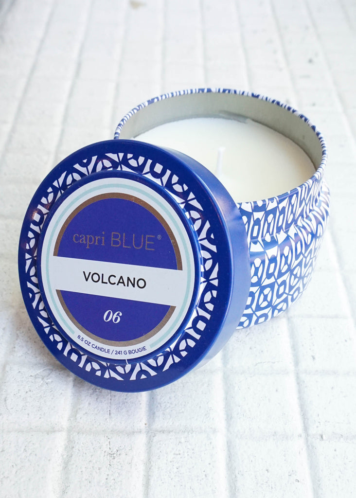 PRINTED TRAVEL TIN CANDLE IN VOLCANO BY CAPRI BLUE
