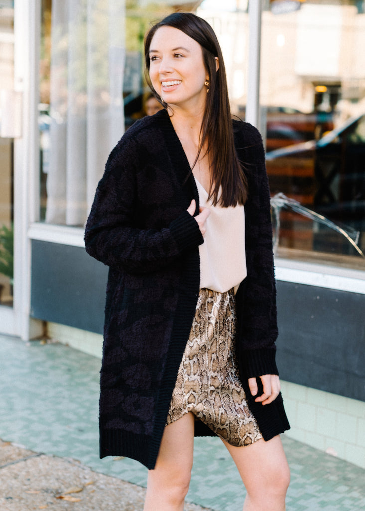 ALL THE TIME TONAL LEOPARD CARDIGAN