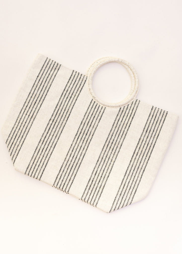 GOT IT ALL NEUTRAL STRIPE TOTE
