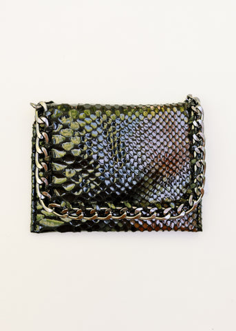 CHANGING CHAIN SNAKEPRINT CARD HOLDER