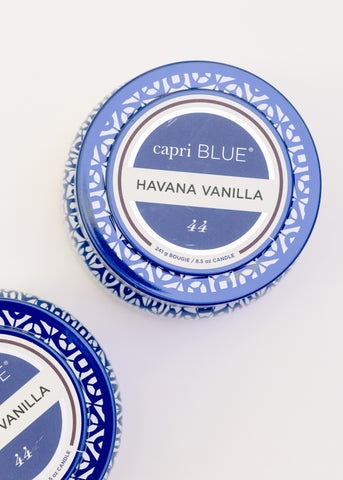 PRINTED TRAVEL TIN CANDLE IN HAVANA VANILLA BY CAPRI BLUE
