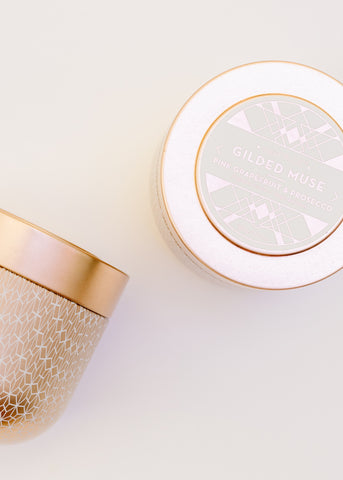 GILDED TIN CANDLE IN PINK GRAPEFRUIT & PROSECCO BY CAPRI BLUE
