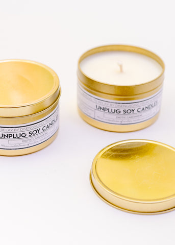 GOLD TIN SOY CANDLE IN EXOTIC CARDAMON BY UNPLUG