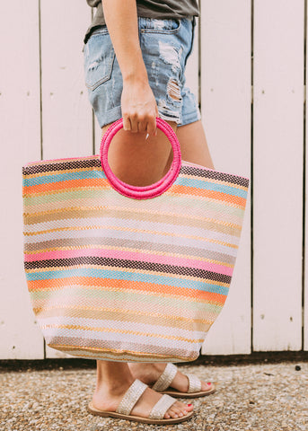GOT IT ALL COLORFUL STRIPE TOTE