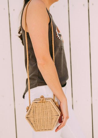 INTO THE SUN WOVEN CROSSBODY