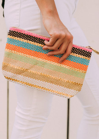 GOT IT ALL COLORFUL STRIPE POUCH
