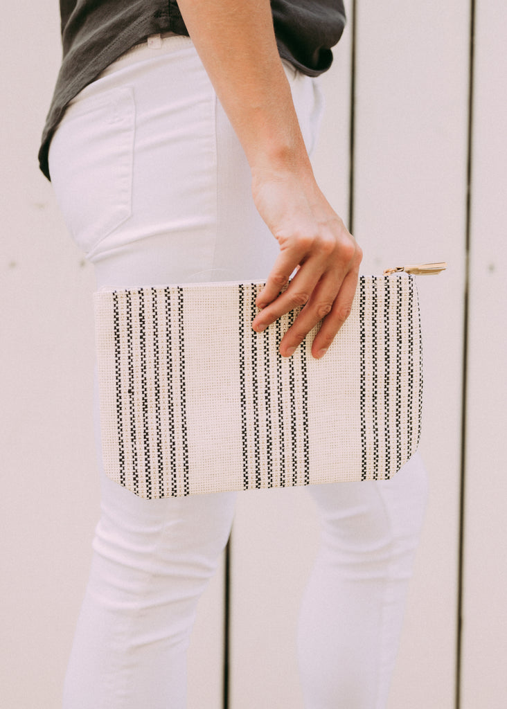GOT IT ALL NEUTRAL STRIPE POUCH