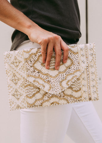 FOR ALL MY LIFE BEADED CLUTCH