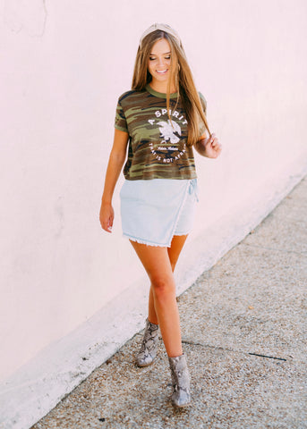 SPIRIT THAT IS NOT AFRAID CAMO CROP TEE BY SCARLET & GOLD