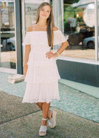 YOURS FOREVER OTS MIDI DRESS
