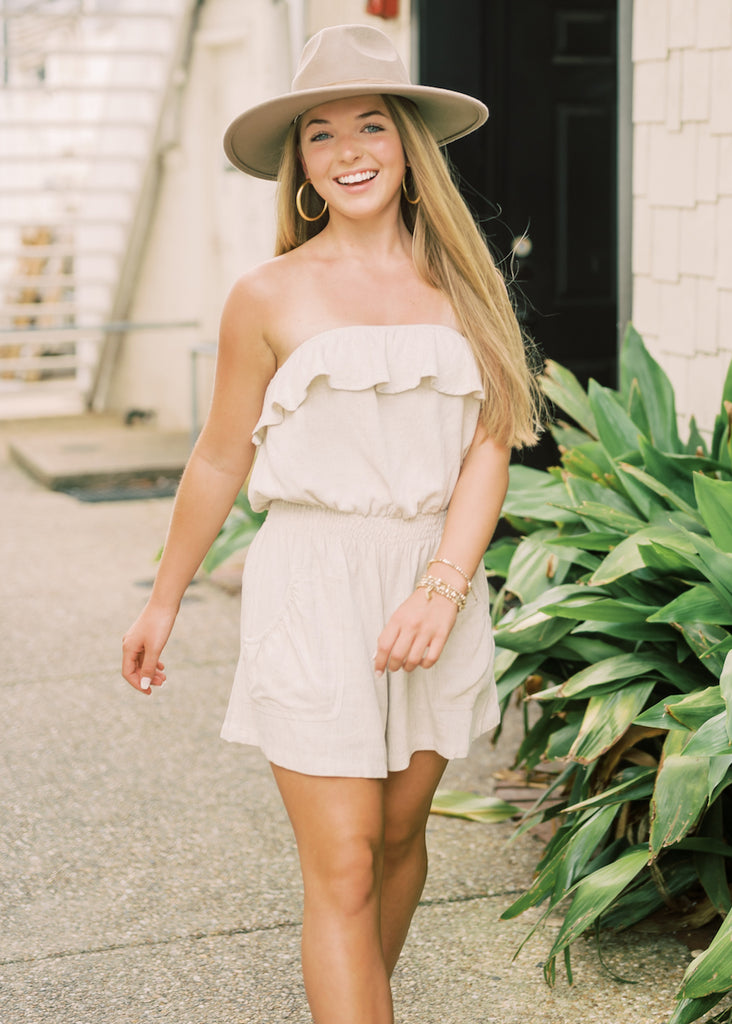 BETTER DAYS STRAPLESS ROMPER