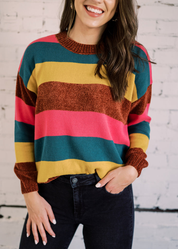 STRIPE IS RIGHT MULTICOLOR SWEATER