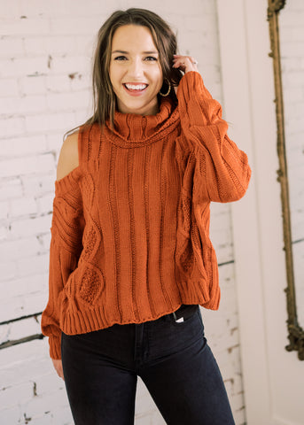 CAMPFIRE COLD SHOULDER SWEATER
