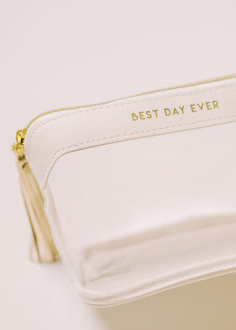 BEST DAY EVER CLEAR BRIDAL TRAVEL POUCH