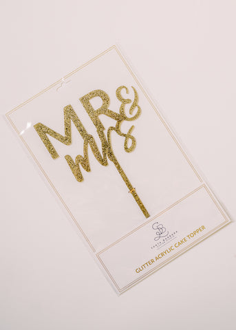 MR AND MRS GLITTER ACRYLIC CAKE TOPPER
