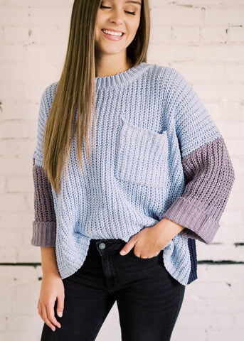 HERE WE GO COLORBLOCK SWEATER