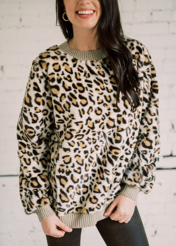 RUN AWAY WITH ME LEOPARD PRINT SWEATER
