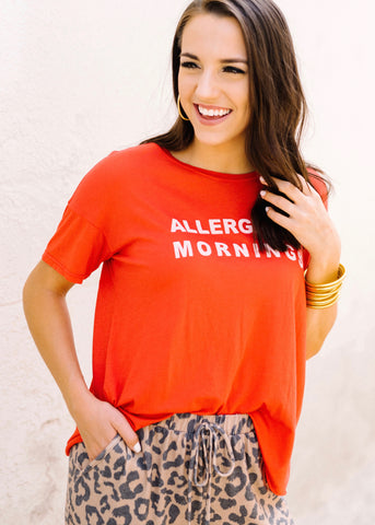 ALLERGIC TO MORNINGS GRAPHIC TEE