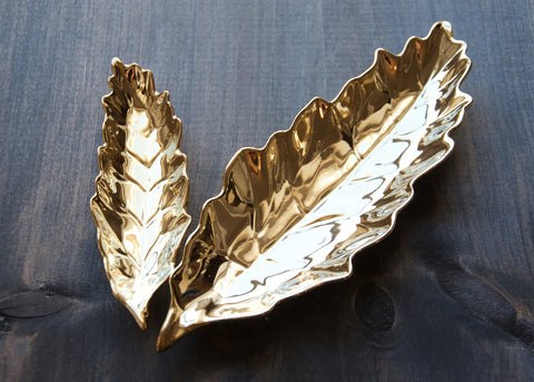 GOLD LEAF STACKING TRAYS