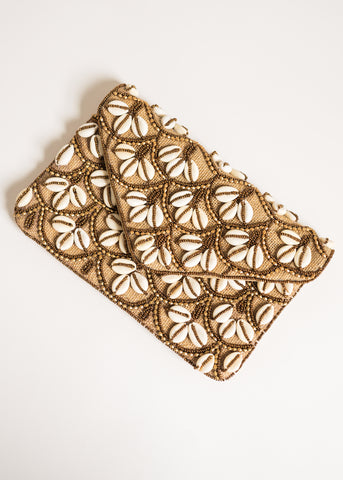 SUN AND SHELL BEADED CLUTCH