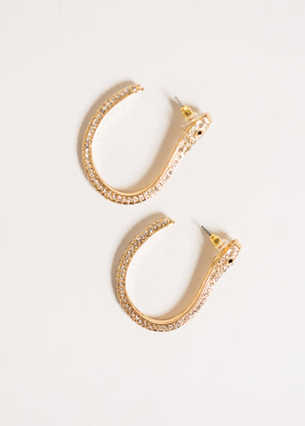 BIG REPUTATION SNAKE PAVE HOOP EARRINGS