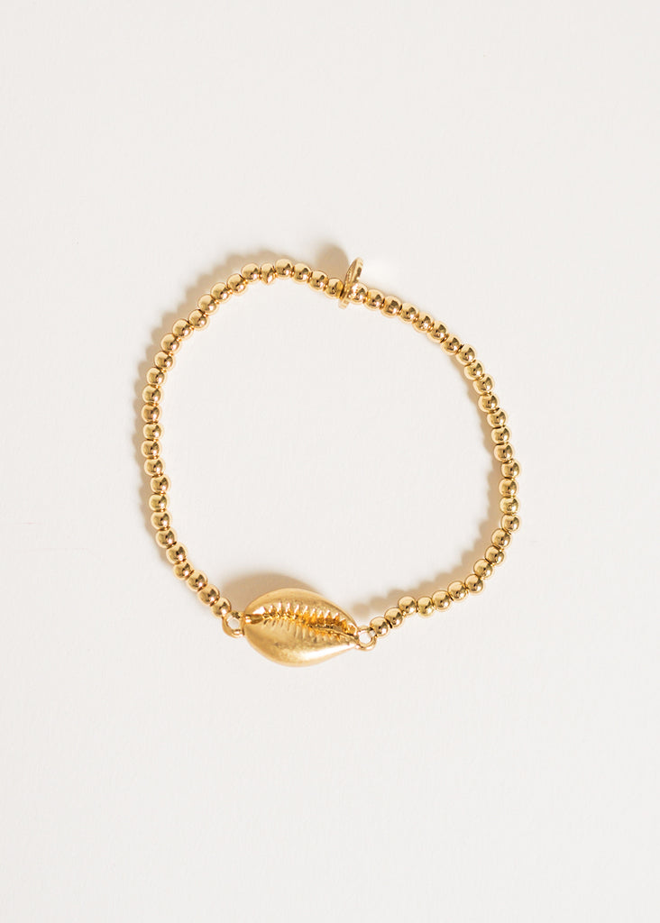 BEACH SHELL GOLD BEADED BRACELET