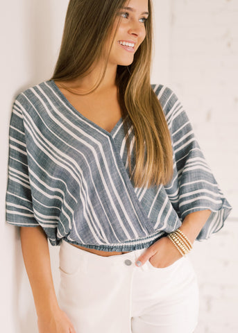 MAKE MY HEART STRIPED TOP
