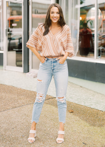 MAKE MY HEART STRIPE TOP