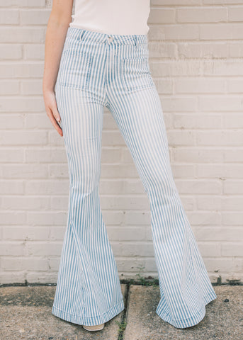 SKINNY STRIPED DENIM FLARES