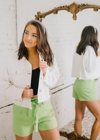 BRING SPRING ON LIME SHORTS