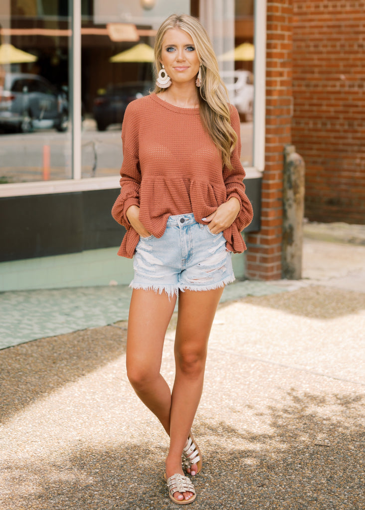WONDERFUL WAFFLE KNIT PEASANT TOP